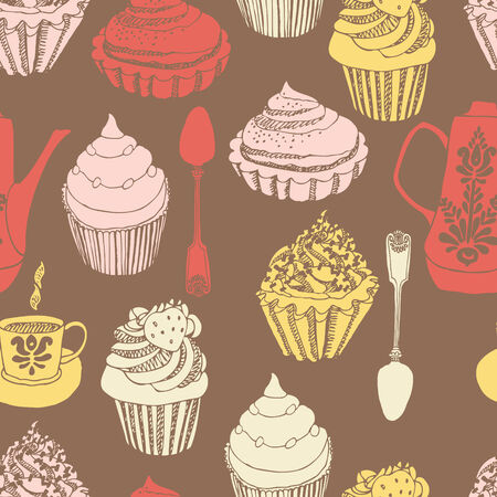 Cupcake, coffee pot and cup seamless background Vector
