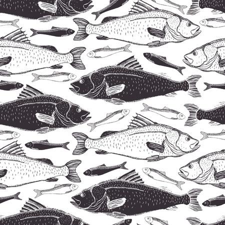 Fish Black and white background Vettoriali