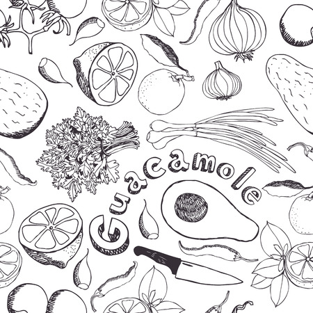 Vegetables for guacamole seamless background Vector
