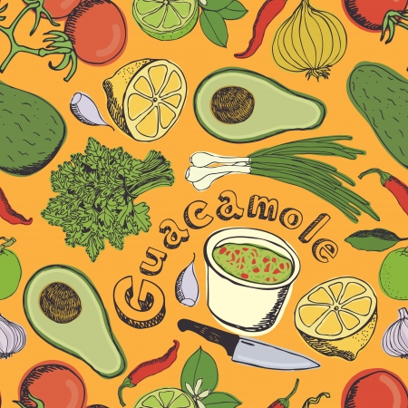 Vegetables for guacamole seamless pattern