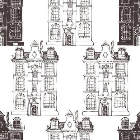 arquitecto caricatura: De fondo sin fisuras con las casas viejas Vectores