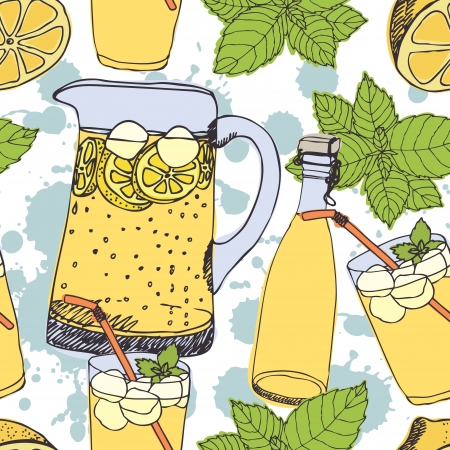 Lemonade background, jugs, glasses with ice Illustration