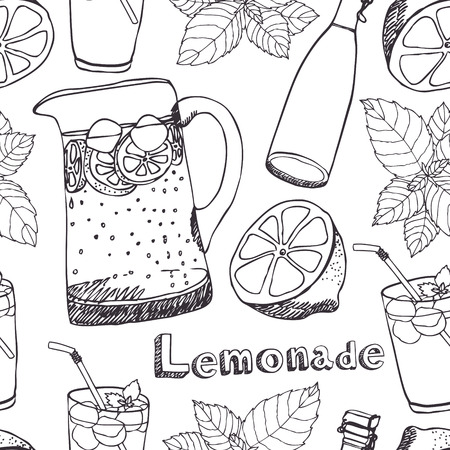 ice plant: Lemonade, jugs, glasses with ice seamless pattern
