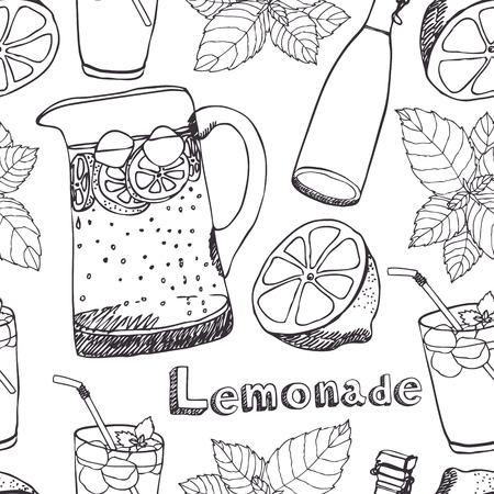 lemonade: Lemonade, jugs, glasses with ice seamless pattern