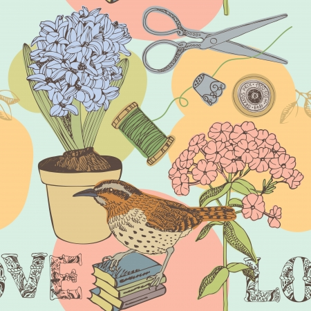 Love seamless background with bird and flowers, book and scissors Stock Vector - 25068049
