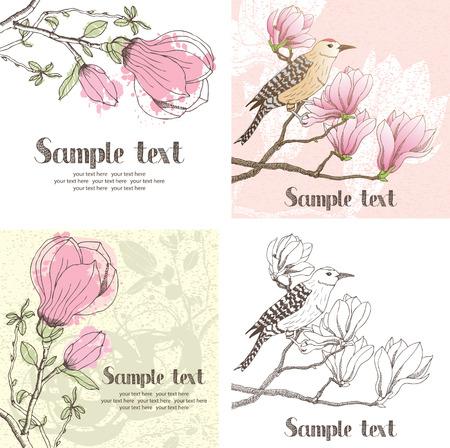支店: ピンクのマグノリアと鳥のカードをデザインします。