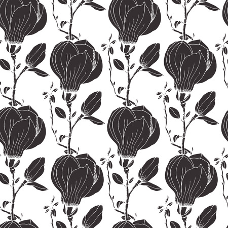 Magnolia seamless background, black and white Vector