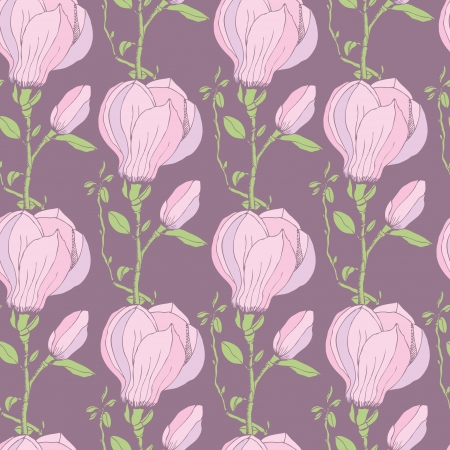 Seamless background with Pink magnolias Vector
