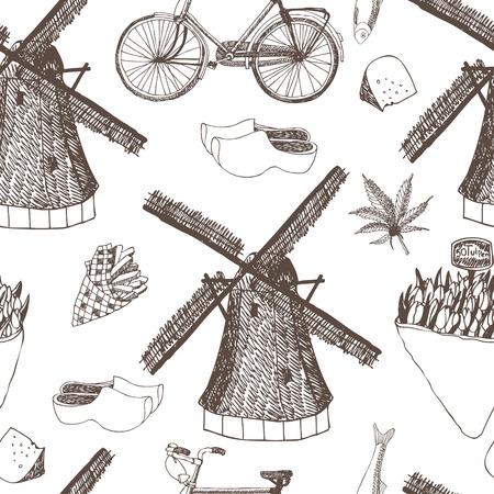 Nederland naadloze achtergrond, hand tekening