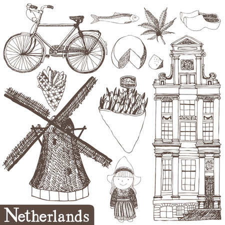 dutch girl: Set of vector Netherlands hand-drawn pictures Illustration