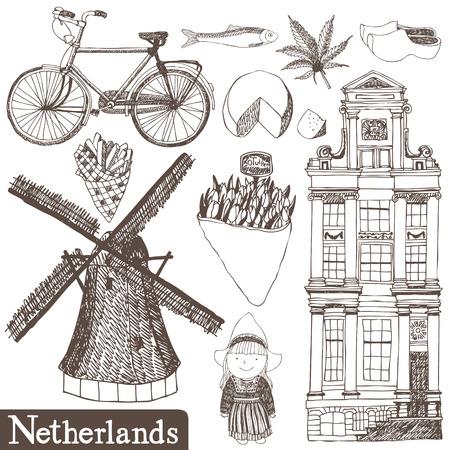 Set van vector Nederland handgetekende foto's