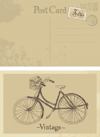 postcard vintage: Old bicycle vintage design card Illustration