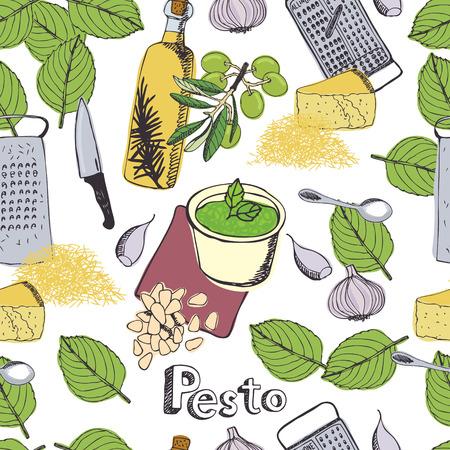 comidas saludables: Deliciosa salsa de pesto fresco fondo Vectores