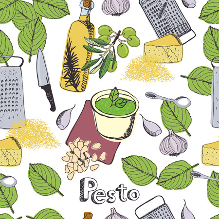 Delicious fresh sauce pesto background Vector