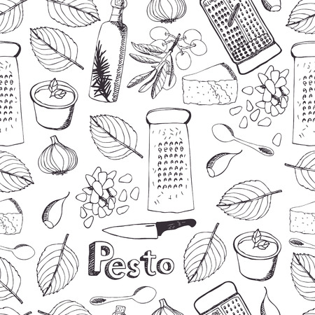 Delicious fresh sauce pesto seamless pattern