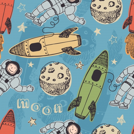 outer: Rockets and astronauts in space seamless background  Illustration