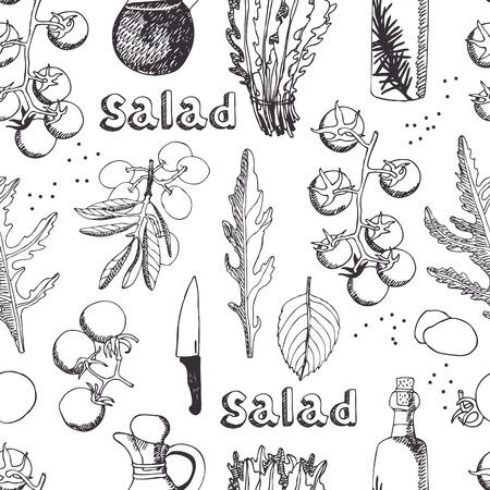 sal: Ensalada de rúcula, mozzarella y tomate de fondo sin fisuras Vectores