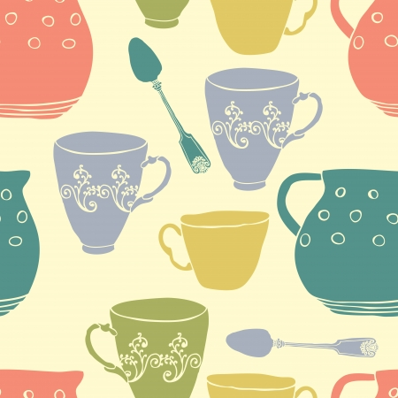 Seamless pattern with tea cups, spoons and pitchers Vector