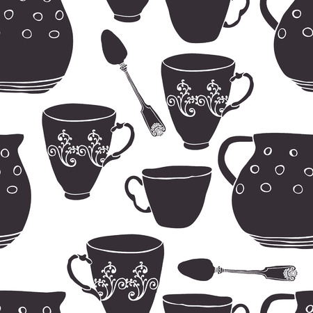 Seamless pattern with tea cups and jugs Vector