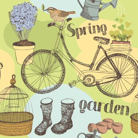 woman gardening: Spring garden, flowers, tools and birds seamless background