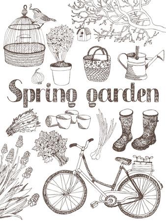 carretilla: Jardín de primavera, árbol, herramientas, bicicletas y hierbas tarjeta