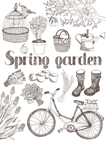 Spring garden, tree, tools, bike and herbs card Vector