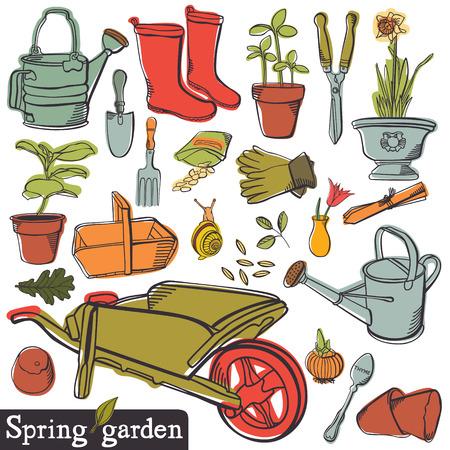 Spring garden, vintage tools set Illustration