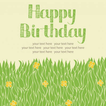 Spring grass and yellow flowers card Vector