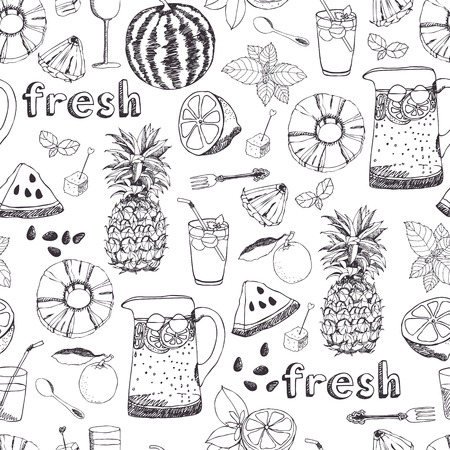 Summer freshness melons and pineapples background Vector