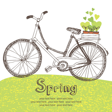woman hiking: Vintage bicycle with spring seedlings card Illustration