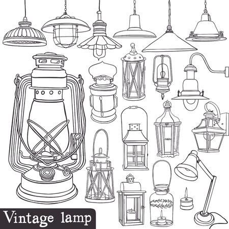 Old gasoline lamps and vintage lamp set Vector