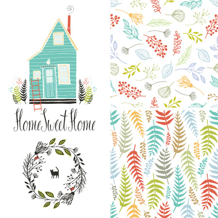 Home sweet home, floral fern patterns and round frame, set