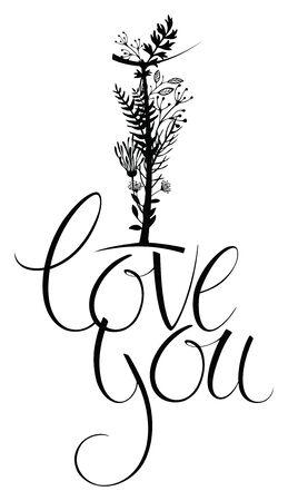 beloved: I love you. Floral design card with calligraphy Illustration