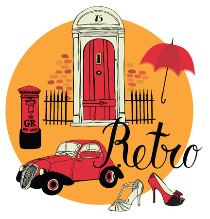 retro design elements: Retro design elements collection. Vintage car, shoes, mailbox and door. Calligraphy design card Illustration