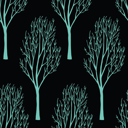 Trees on the dark background. Seamless pattern Vector