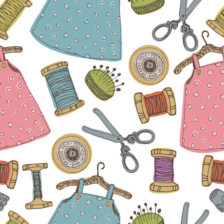 black baby girl: Sewing tools. Baby dress background