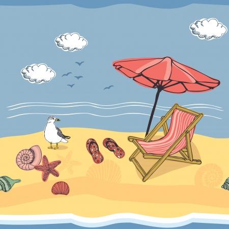 starfish on beach: Sunny summer beach seamless background Illustration