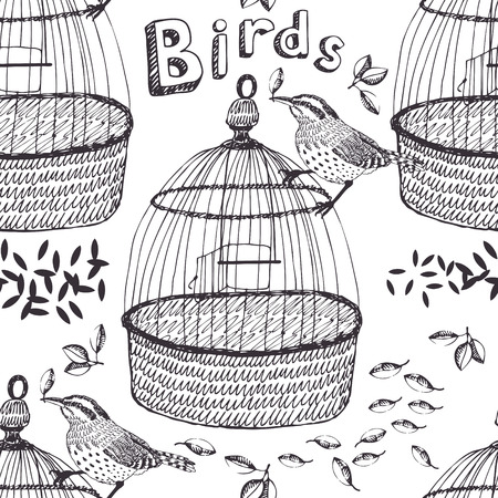 Bird and cage seamless background Vector