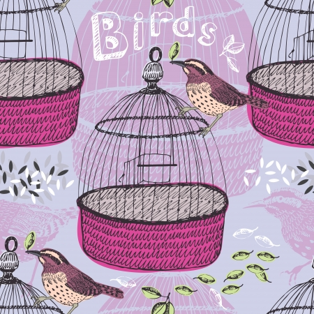 Bird and cage seamless pattern Vector