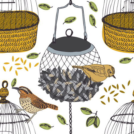 Birds with leaves and cage seamless pattern Vector