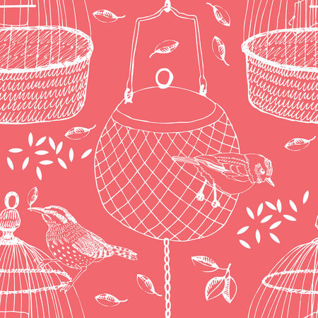 Birds and cages on the pink background Vector