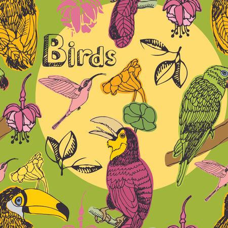 aves caricatura: Flores tropicales y aves sin fisuras patrón Vectores