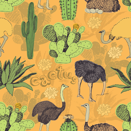 tasmania: Cactus and ostrich seamless background