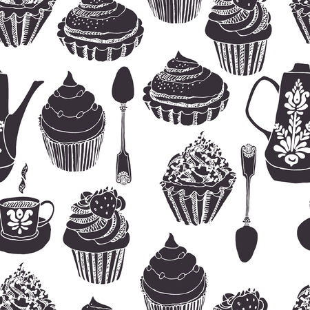 tea kettle: Coffee with cupcakes seamless background