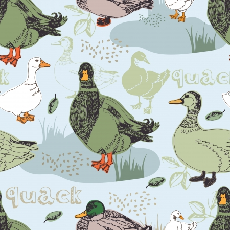 Ducks on the farm .Seamless pattern