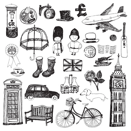 Set of famous London symbols and icons Vector