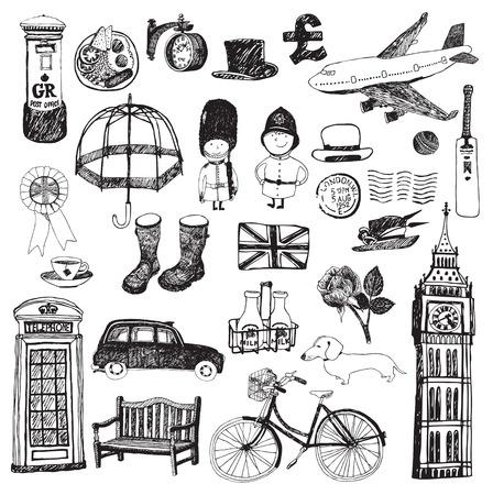 jack plane: Set of famous London symbols and icons Illustration
