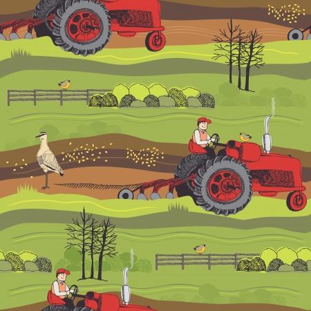Frühling arbeitet in den Feldern der Bauern. Bauernhof Hintergrund