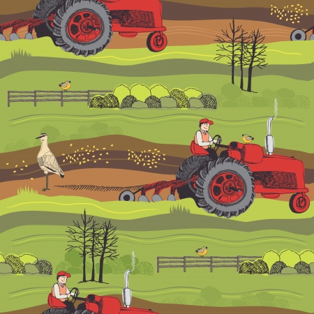 Spring works in farmers fields. Farm background Vector
