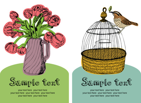 Red tulips in vases, bird on bird cage, flowers and birds card Vector